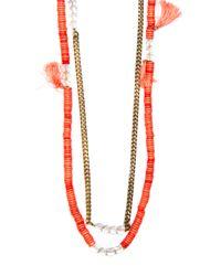 Mango - Metallic Tassel Necklace - Lyst