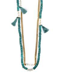 Mango - Blue Tassel Necklace - Lyst