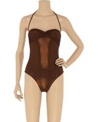 Melissa Odabash | Brown Sienna Metallic Bandeau Swimsuit | Lyst