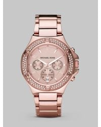 Michael Kors - Pink Rose Gold Stainless Steel & Crystal Chronograph Watch - Lyst
