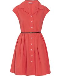 Miu Miu | Red Belted Cotton And Linen-Blend Shirt Dress | Lyst