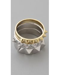 Noir Jewelry | Metallic Stackable Pyramid Ring Set | Lyst