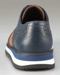 Prada - Blue Bi-color Oxford with Colored Micro Sole - Lyst