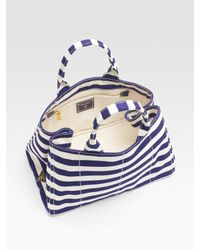 Prada | Blue Stripe Canvas Tote Bag | Lyst