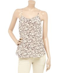 Rebecca Taylor - Gray Floral-print Silk Camisole - Lyst