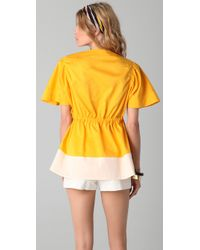 Sonia Rykiel | Yellow Colorblock Top with Pockets | Lyst