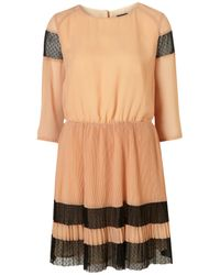 TOPSHOP | Natural Spot Mesh Pleat Dress | Lyst