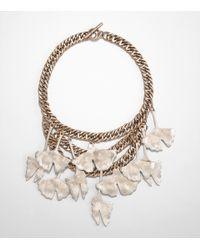 Tory Burch | Metallic Ginkgo Leaf Necklace | Lyst