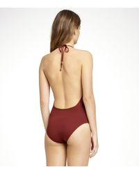 Tory Burch - Brown Solid Plunge V-neck One Piece Swimsuit - Lyst