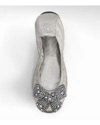 Tory Burch | Metallic Eddie Ballet Flat with Crystal Bow | Lyst