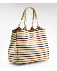 Tory Burch | Multicolor Striped Channing Tote | Lyst