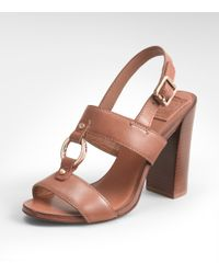 Tory Burch | Brown Fletcher High Heel Sandal | Lyst