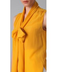 Viktor & Rolf - Yellow Sleeveless Necktie Blouse - Lyst