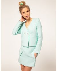 ASOS Collection - Blue Blazer with Pearl Buttons - Lyst