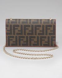 Fendi | Brown Zucca Shoulder Wallet | Lyst