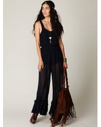 Free People | Blue 'New Romantics Bells and Ruffles' Jumpsuit | Lyst
