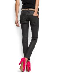 Mango - Black Metallic Effect Skinny Jeans - Lyst