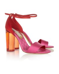 Stella McCartney | Pink Perspex-heeled Two-tone Satin Sandals | Lyst