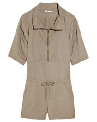 T By Alexander Wang - Brown Tencel and Linen-blend Playsuit - Lyst