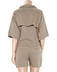 T By Alexander Wang | Brown Tencel and Linen-blend Playsuit | Lyst