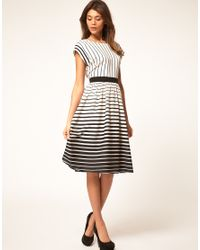 ASOS Collection - Gray Asos Midi Dress In Stripe - Lyst