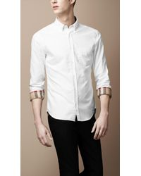 Burberry | White Button-down Cotton Shirt for Men | Lyst