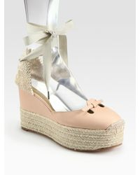 Marc Jacobs | Natural Mouse Lace-up Leather Espadrille Wedge Sandals | Lyst