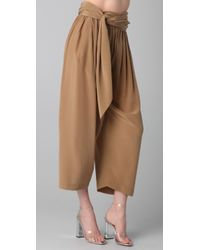 3.1 Phillip Lim - Brown Waist Tie Gaucho Pants - Lyst