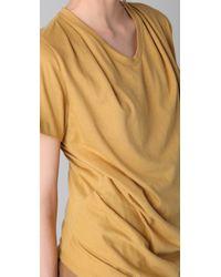 3.1 Phillip Lim - Yellow Short Sleeve Draped Tee - Lyst