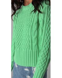 Acne | Green Lia Cable-knit Cotton Sweater | Lyst