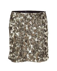 Anna Sui | Metallic Oxidized Gold All Over Sequined Skirt | Lyst