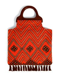 Anna Sui | Orange Fringed Tote | Lyst