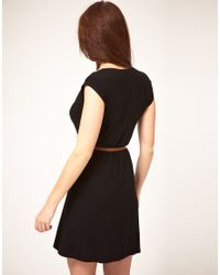 ASOS Collection - Black Asos Mini Wrap Dress With Belt - Lyst