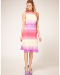 ASOS Collection | Multicolor Asos Petite Exclusive Midi Dress In Multi Coloured Lace | Lyst