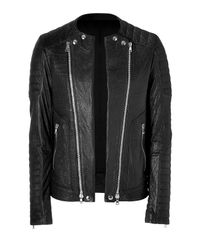 Balmain | Black Biker Wadded Leather Jacket for Men | Lyst