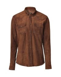 Balmain | Brown Suede Cowboy Shirt for Men | Lyst
