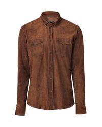Balmain - Brown Suede Cowboy Shirt for Men - Lyst