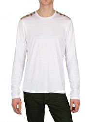 Burberry Brit | White Check Shoulder Tee  for Men | Lyst