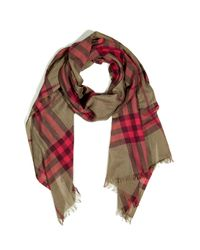Burberry | Natural Pale Military Khaki Check Scarf | Lyst