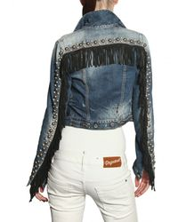 DSquared² | Blue Leather Fringed Studded Denim Jacket | Lyst
