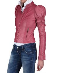DSquared² | Pink Ruffled Nappa Leather Jacket | Lyst
