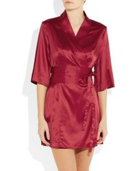 Elle Macpherson | Red So Pretty It Hurts Stretch-Satin Robe | Lyst