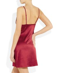 Elle Macpherson | Red So Pretty It Hurts Stretch Silk-Satin Chemise | Lyst