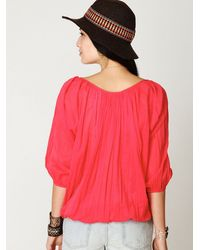 Free People - Red Fp One City Peasant Blouse - Lyst