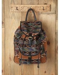 Free People | Brown Sari Pattern Backpack | Lyst