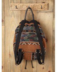 Free People - Brown Sari Pattern Backpack - Lyst
