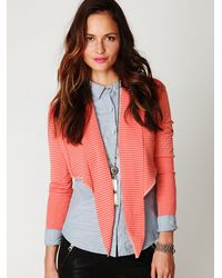 Free People | Pink Striped Crop Wrap Sweater | Lyst