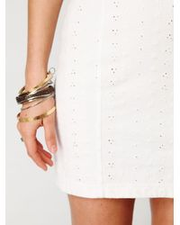 Free People - White Stretch Eyelet Bodycon - Lyst