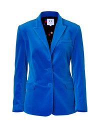 Halston | Electric Blue Velvet Blazer | Lyst