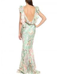 John Galliano - Multicolor Patchwork Print Silk Chiffon Dress - Lyst